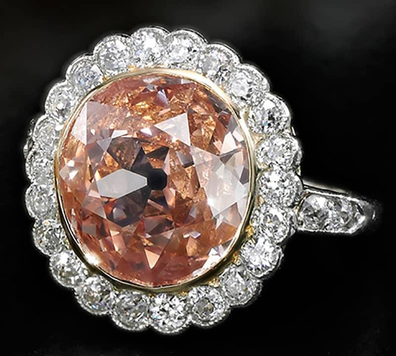 FANCY ORANGY PINK DIAMOND RING, DIAMOND WEIGHING 2.44 CARATS, CIRCA 1810.
