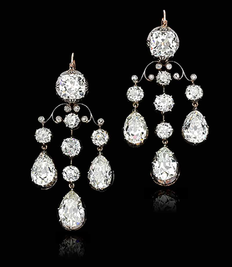 FROM MARIA THERESE OF SAVOY – DUCHESS OF PARMA (1803-1879) PAIR OF DIAMOND EARRINGS, 19TH CENTURY
