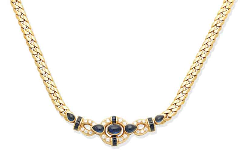 LOT 154 - A SAPPHIRE AND DIAMOND NECKLACE, by Graff