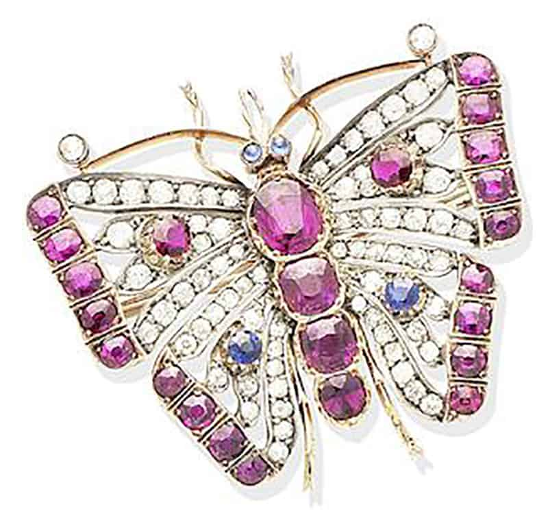 LOT 240 - A RUBY, SAPPHIRE AND DIAMOND BUTTERFLY BROOCH, CIRCA 1890