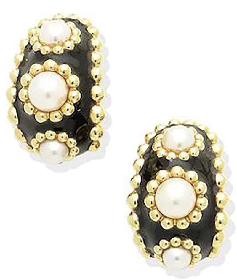 Lot 205 - A PAIR OF CULTURED PEARL AND ENAMEL EARRINGS, by Chanel