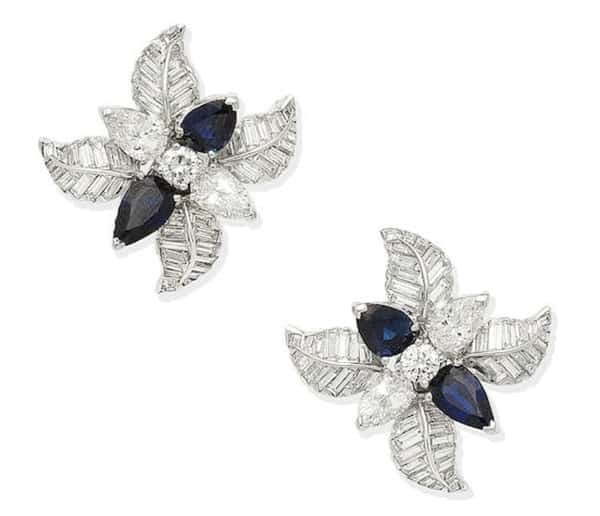 LOT 444 - A PAIR OF SAPPHIRE AND DIAMOND FLORAL EARCLIPS