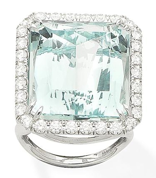 LOT 396 - AN AQUAMARINE AND DIAMOND RING, by Margherita Burgener