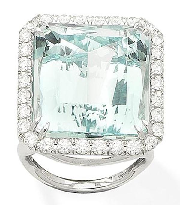 LOT 396 - AN AQUAMARINE AND DIAMOND RING, by Margherita Burgener