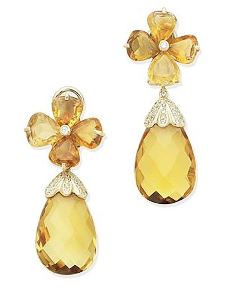 LOT 359 - A PAIR OF CITRINE AND DIAMOND PENDANT EARRINGS