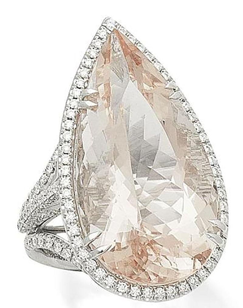 LOT 356 - A MORGANITE AND DIAMOND RING, by Margherita Burgener