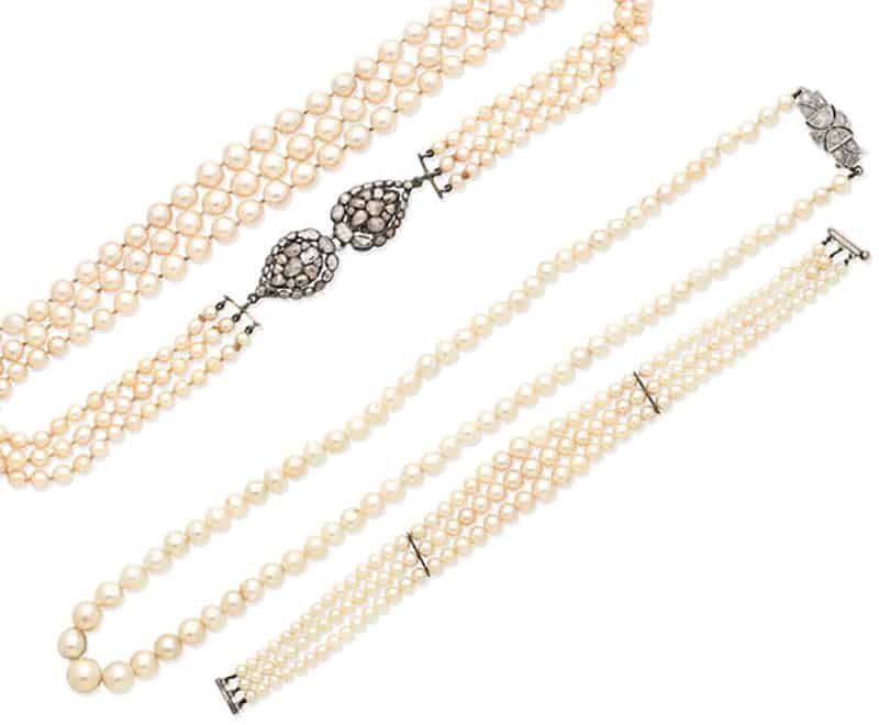 LOT 380 - A TRIPLE-STRAND CULTURED PEARL NECKLACE, A CULTURED PEARL NECKLACE, AND A CULTURED PEARL BRACELET