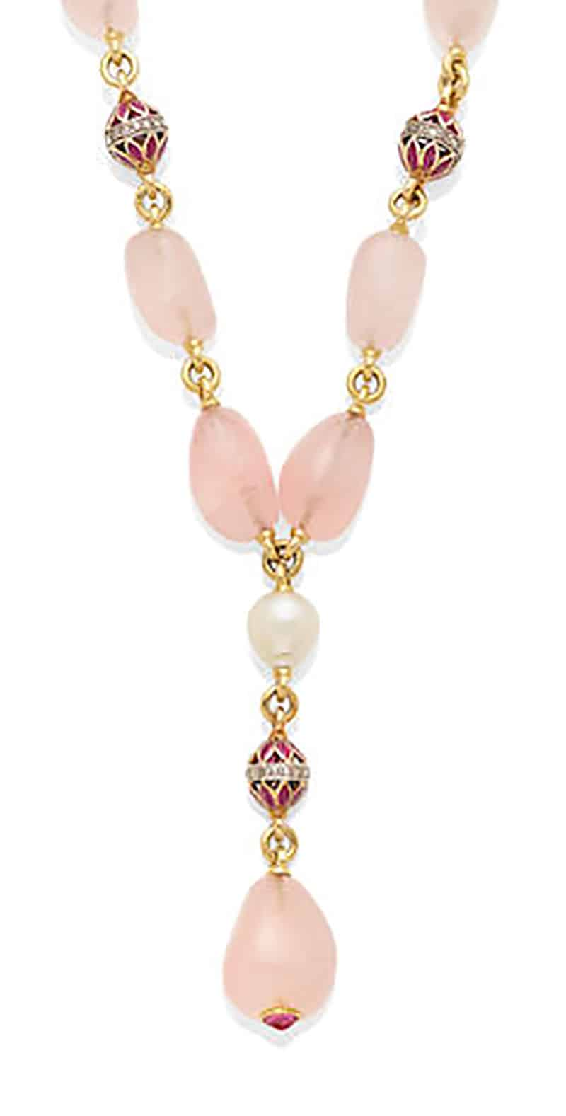 LOT 284 - A ROSE QUARTZ BEAD, CULTURED PEARL, RUBY, DIAMOND AND 18K GOLD NECKLACE, Verdura