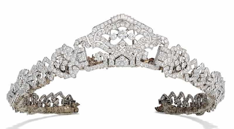 LOT 54 - VISCOUNTESS CHURCHILL ART DECO DIAMOND TIARA BY HENNELL