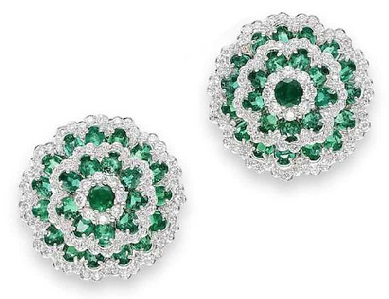 Lot 596 - A PAIR OF EMERALD AND DIAMOND EARRINGS