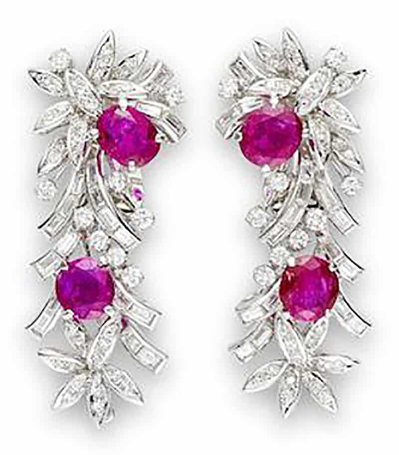 LOT 513 - A PAIR OF RUBY AND DIAMOND EARRINGS, by Alexander Laut