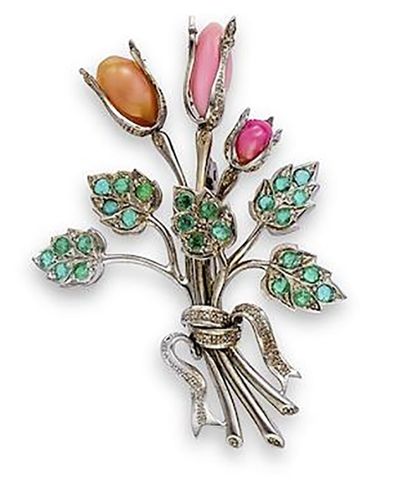 A CONCH PEARL, GEM-SET AND DIAMOND BROOCH