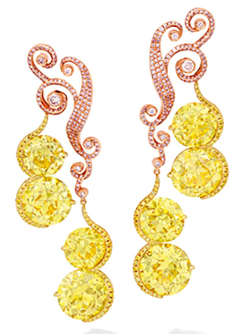 LOT 1858 - A SPECTACULAR PAIR OF FANCY VIVID YELLOW DIAMOND AND DIAMOND PENDENT EARRINGS