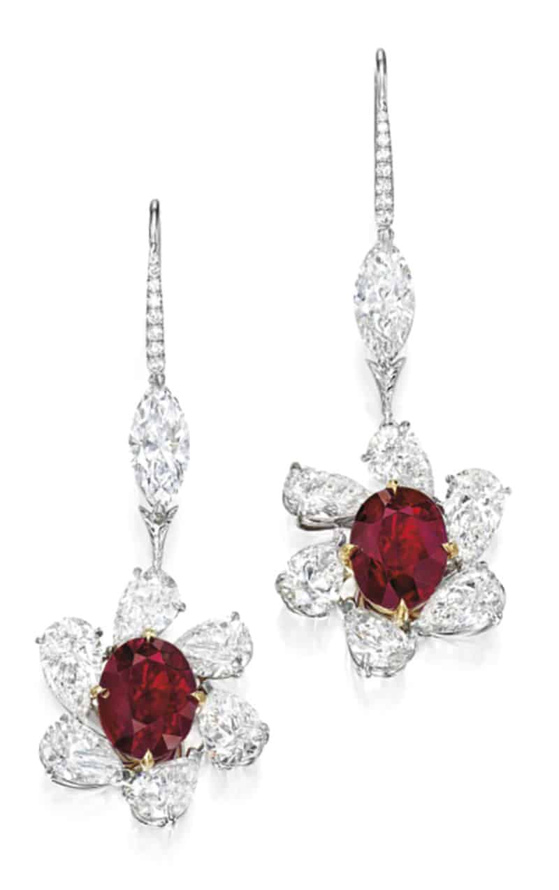 LOT 1852 - PAIR OF RUBY AND DIAMOND PENDENT EARRINGS