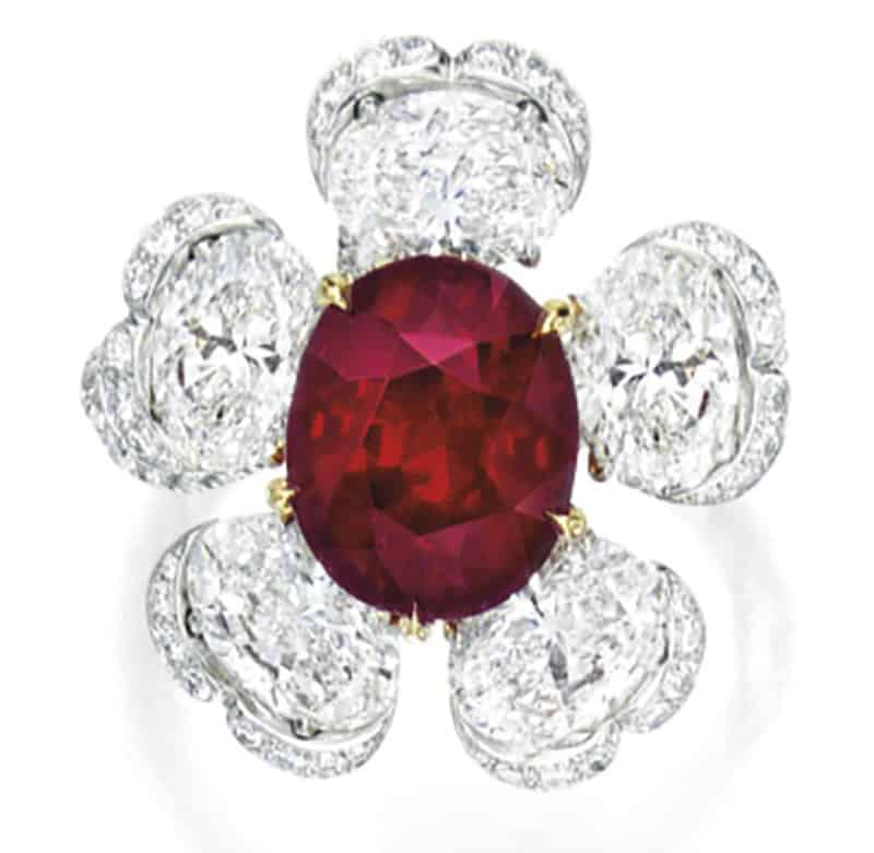 LOT 1851 - RUBY AND DIAMOND RING