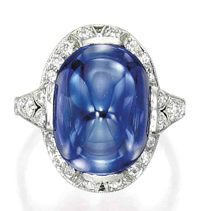LOT 1713 - A FINE SAPPHIRE AND DIAMOND RING, TIFFANY & CO. TOP VIEW