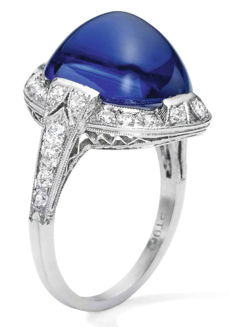 LOT 1713 - A FINE SAPPHIRE AND DIAMOND RING, TIFFANY & CO. SIDE VIEW