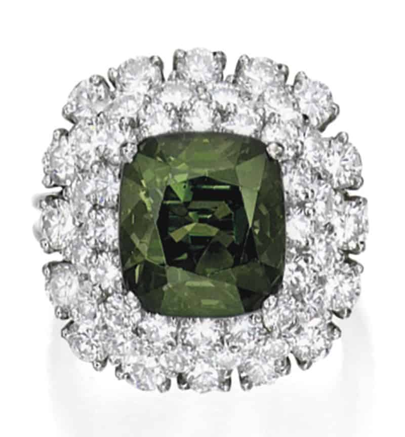 LOT 1627 - ALEXANDRITE AND DIAMOND RING IN DAYLIGHT