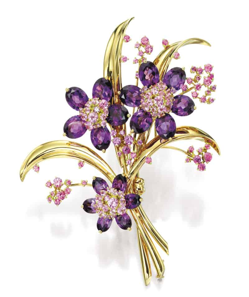 LOT 1668 - AMETHYST AND PINK SAPPHIRE CLIP BROOCH, VAN CLEEF & ARPELS