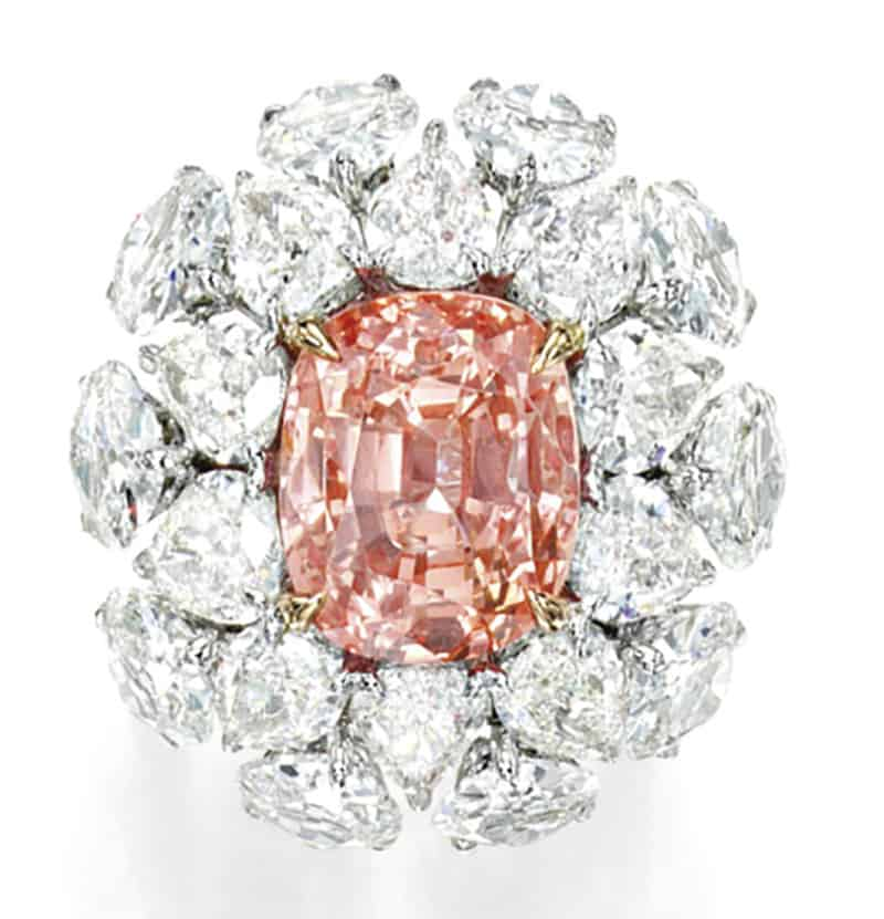 LOT 1711 - AN IMPORTANT PADPARADSCHA SAPPHIRE AND DIAMOND RING