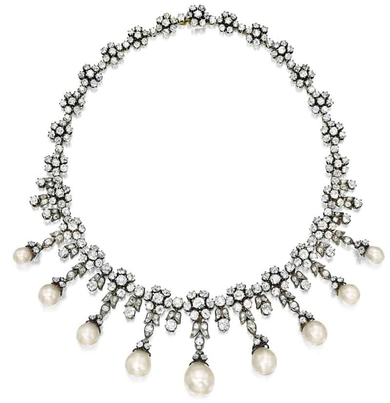 LOT 1682 - NATURAL PEARL AND DIAMOND NECKLACE, LATE 19TH CENTURY