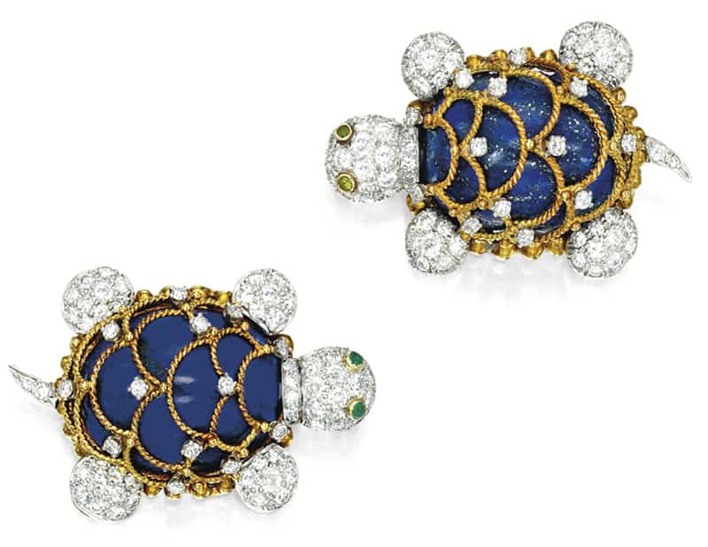 LOT 1867 - PAIR OF LAPIS LAZULI AND DIAMOND BROOCHES, HAMMERMAN BROTHERS