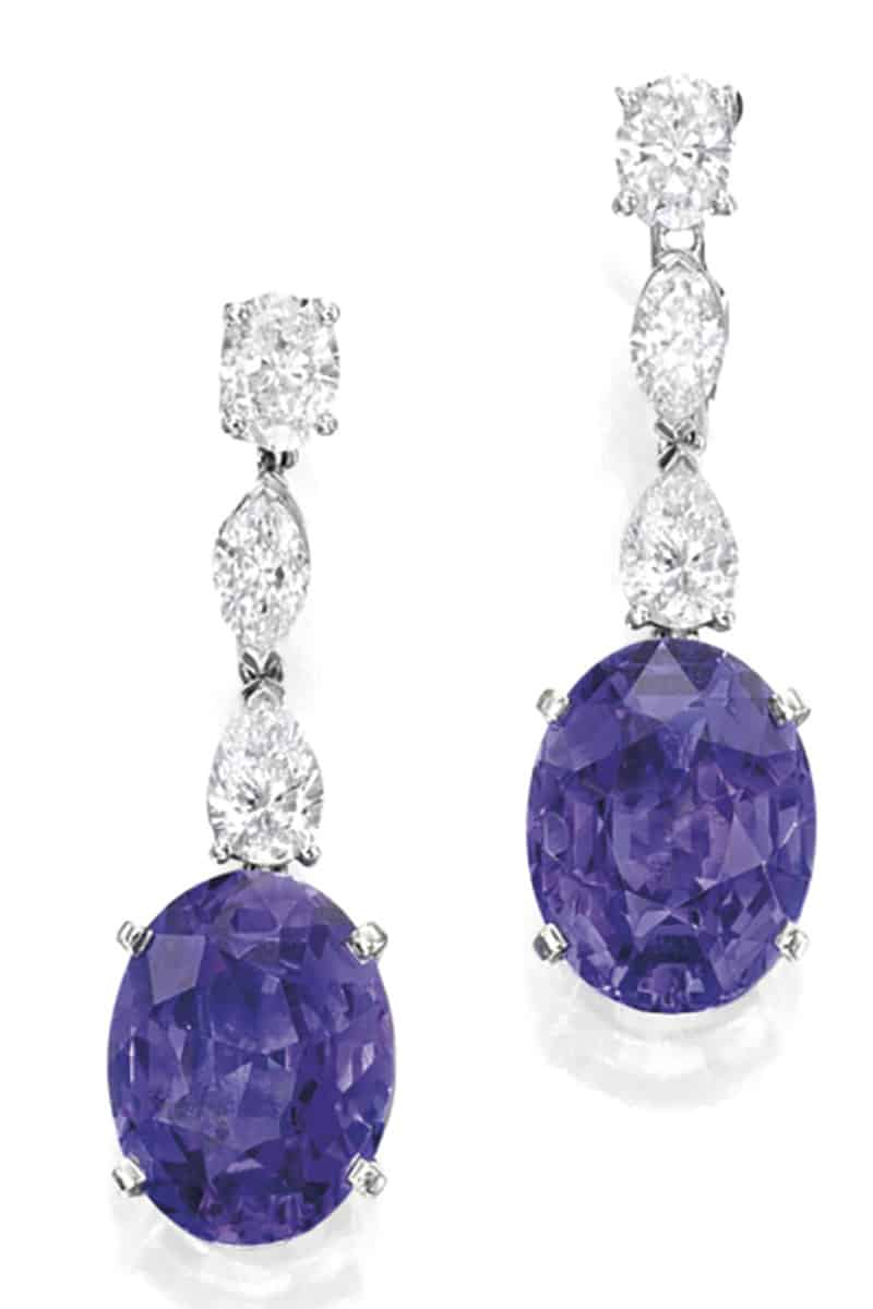 LOT 1814 - PAIR OF PURPLE SAPPHIRE AND DIAMOND PENDENT EARRINGS, CARTIER