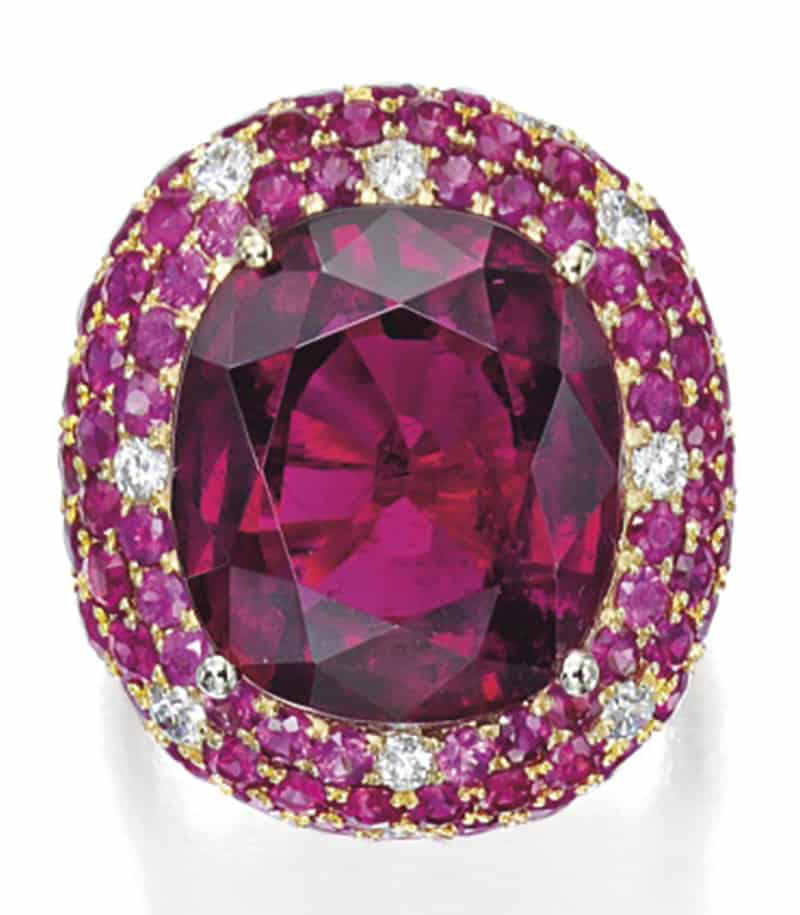LOT 1816 - RUBELLITE, RUBY AND DIAMOND RING