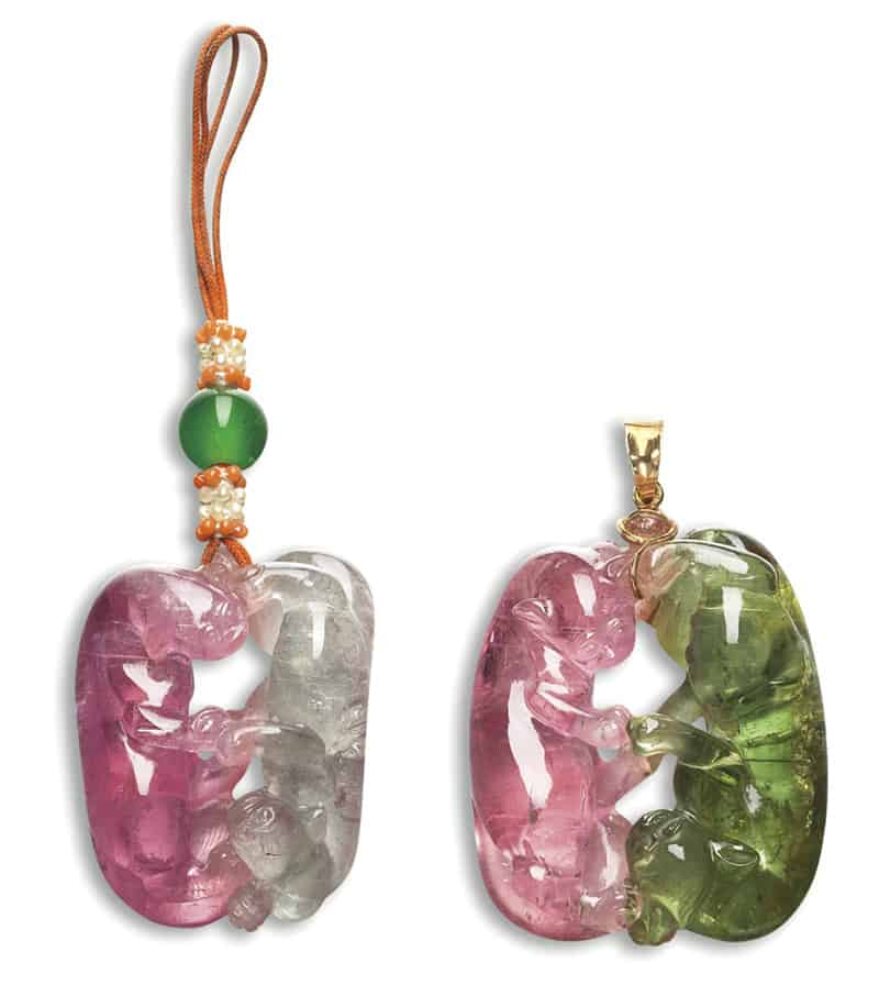 LOT 1732 - TWO BI-COLOURED TOURMALINE PENDANTS, EARLY 20 TH CENTURY