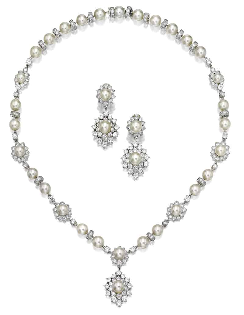 LOT 1791 -  CULTURED PEARL AND DIAMOND DEMI-PARURE, VAN CLEEF & ARPELS