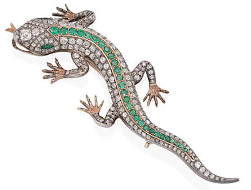 LOT 266 - AN EMERALD AND DIAMOND SALAMANDER BROOCH, CIRCA 1890