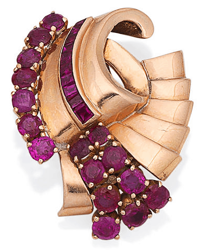 LOT 178 - A RUBY CLIP BROOCH, by Gazdar, circa 1940
