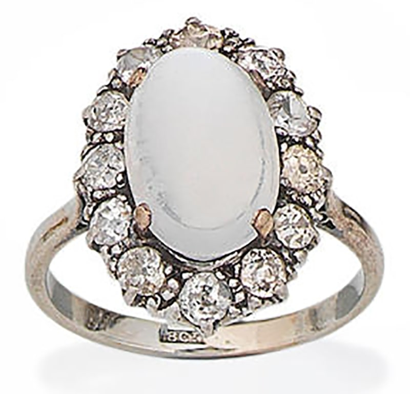 LOT 89 - MOONSTONE, RUBY AND DIAMOND CLUSTER RING