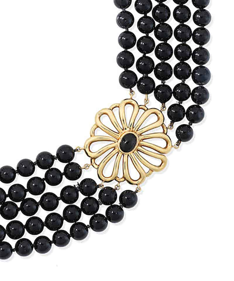 LOT 122 - AN ONYX CHOKER, by Paloma Picasso for Tiffany, circa 1980