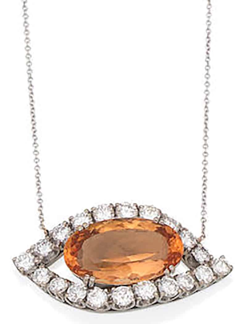 LOT 107 - A TOPAZ AND DIAMOND NECKLACE