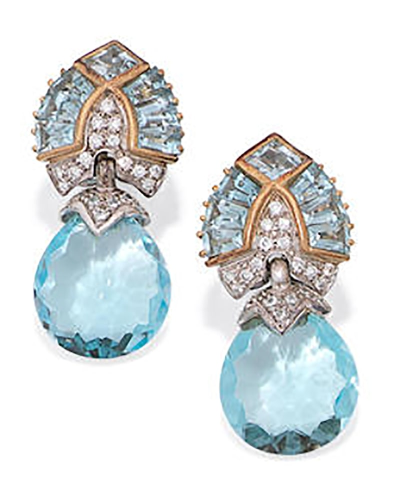 LOT 236 - A PAIR OF BLUE TOPAZ, AQUAMRINE AND DIAMOND EARRINGS