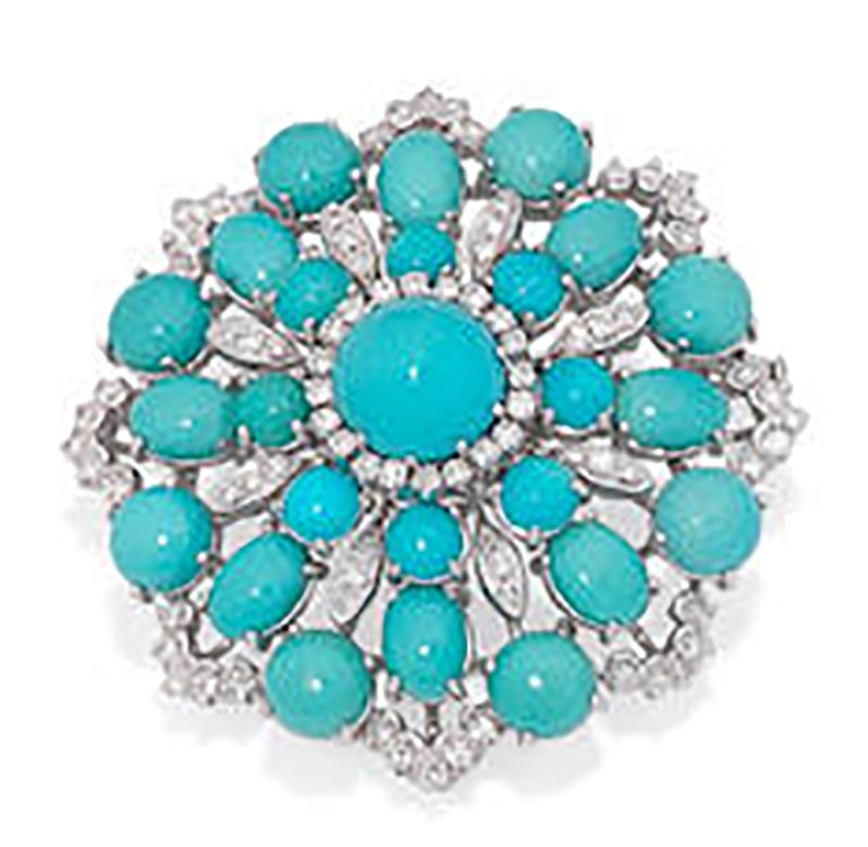 LOT 241 - A TURQUOISE AND DIAMOND BROOCH AND RING SUITE