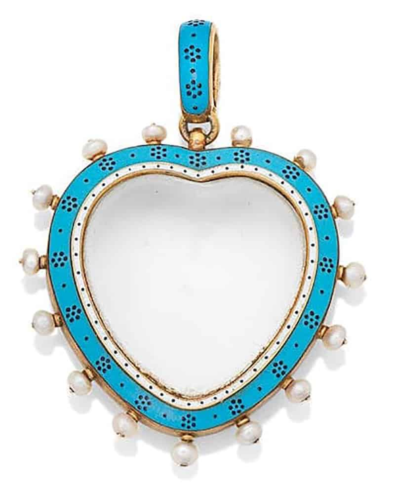 LOT 198 - AN ENAMEL, ROCK CRYSTAL AND SEED PEARL PENDANT, by Carlo Giuliano, circa 1890