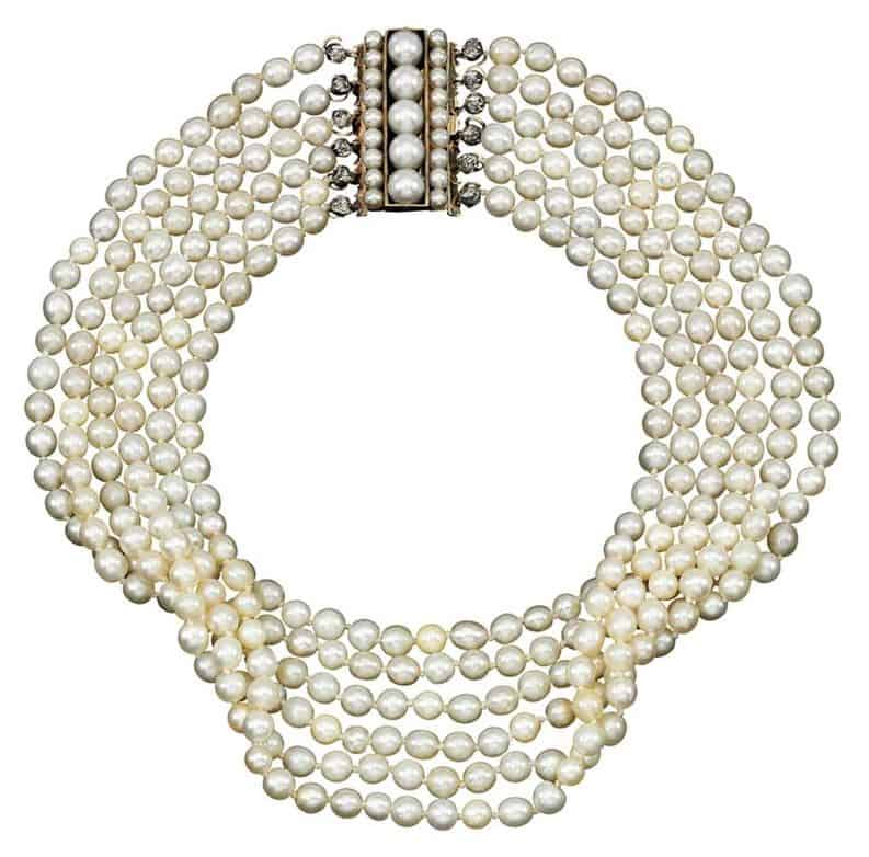 NATURAL PEARL CLASP AND A CULTURED PEARL AND DIAMOND MULTI-STRAND PEARL NECKLACE