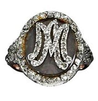 DIAMOND RING MEMENTO WITH INITIALS M.A. AND CONTAINING A LOCK OF MARIE ANTOINETTE'S HAIR
