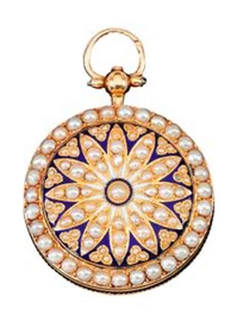 ENAMEL AND SEED PEARL POCKET WATCH, 18TH CENTURY