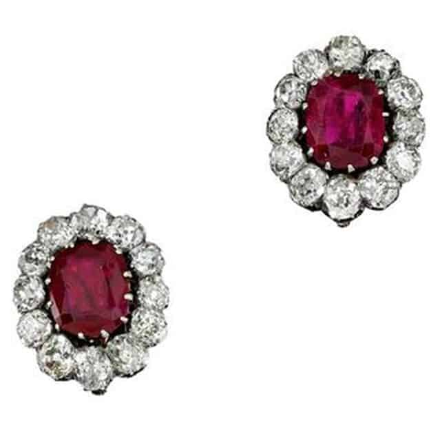 PAIR OF RUBY AND DIAMOND EARRINGS, LATE 19TH CENTURY