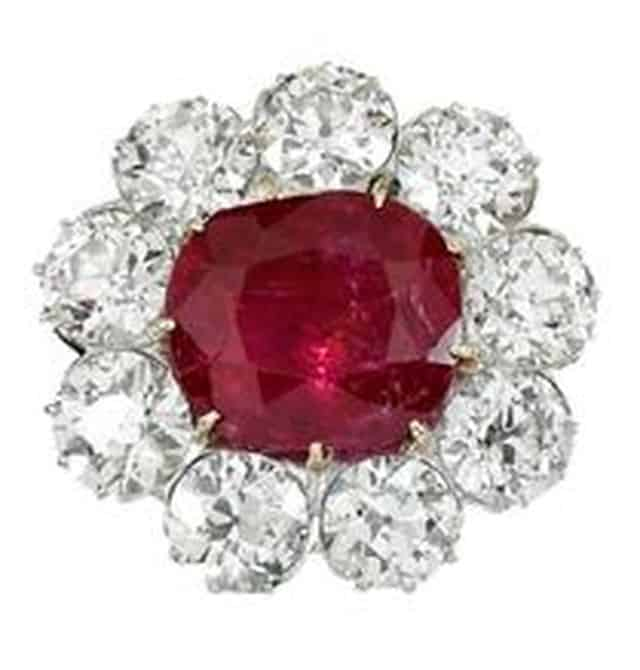 RUBY AND DIAMOND BROOCH, EARLY 2OTH CENTURY