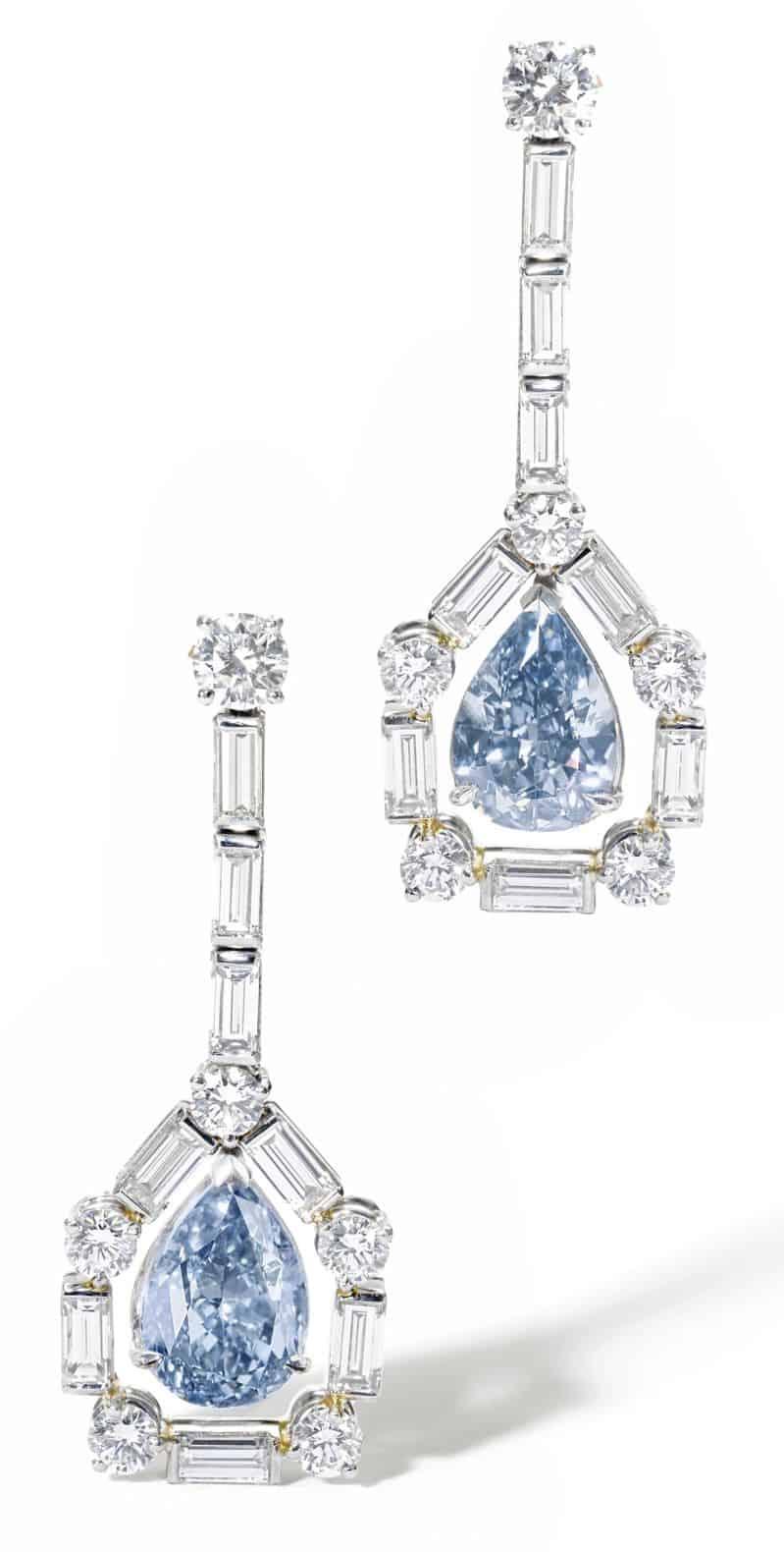 LOT 570 - RARE PAIR OF FANCY VIVID BLUE DIAMOND PENDENT EARRINGS