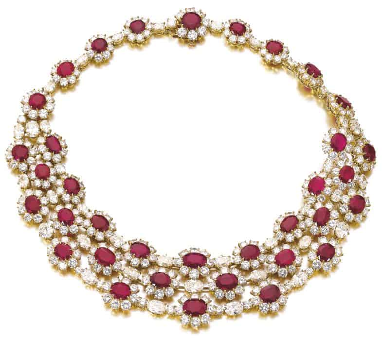 LOT 543 - RUBY AND DIAMOND NECKLACE