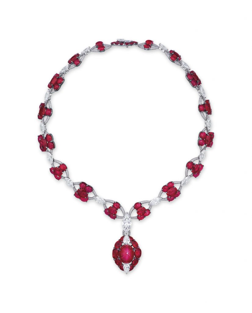 Lot 1945 - MAGNIFICENT STAR RUBY AND DIAMOND NECKLACE, ETCETERA