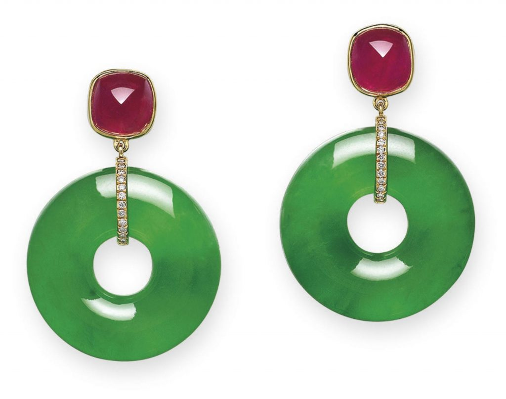 LOT 1924 - JADEITE, RUBY AND DIAMOND EARRINGS