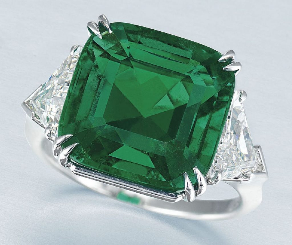 LOT 1937 – An IMPORTANT EMERALD AND DIAMOND RING, by HARRY WINSTON