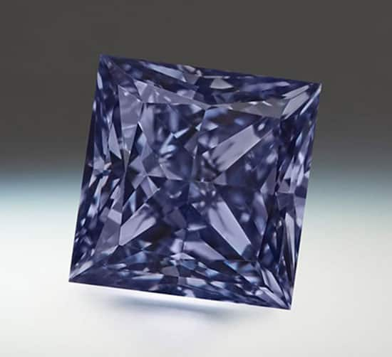 Lot 4 - Argyle Emrys - A 0.43-carat, princess-cut, Fancy Deep Grayish-Violetish-Blue diamond.