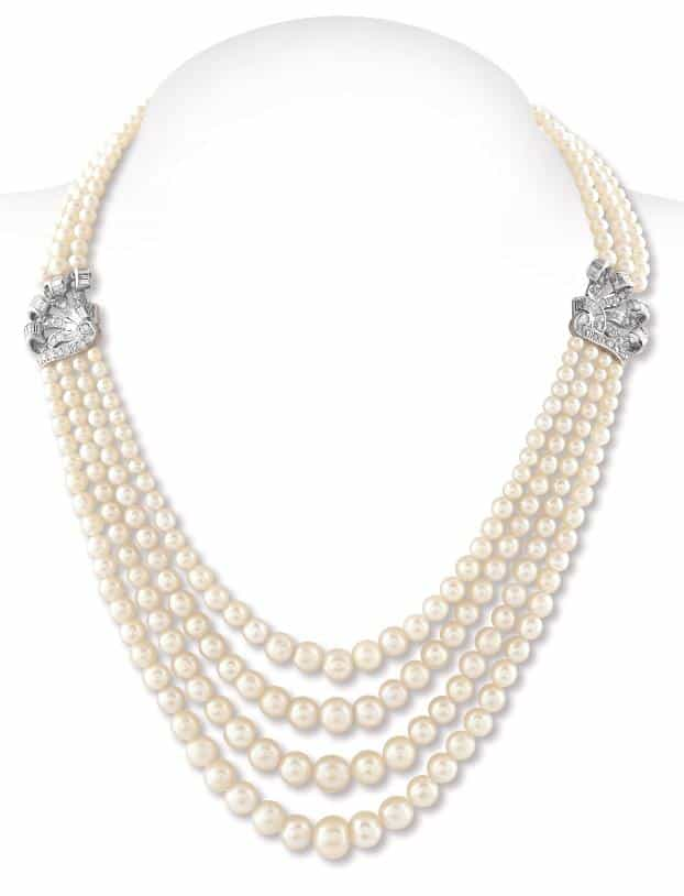 Lot 50 – An Elegant Four Row Basra Pearl Necklace, Circa: 1940 Estimate: INR 1.25 – 1.30 crores | US$ 176,056 – 183,099